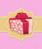 Rosa färgferiebakgrund med gåvan boxas Arkivfoto