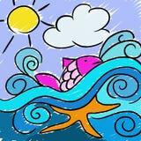 Rosa färgfisk i vågorna Arkivbild