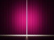 Rosa färggardin med fläckljus Arkivfoton