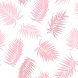Rosa färgkamouflagepalmträdet lämnar den sömlösa modellen vektor illustrationer