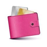 Rosa färgläderplånbok Arkivfoto