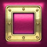Rosa färgmetallbakgrund med den gula beståndsdelen Arkivfoto
