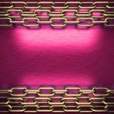 Rosa färgmetallbakgrund med den gula beståndsdelen Royaltyfri Foto