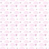 Rosa färgmoln och seamlless modell för hjärtavattenfärg på vit bakgrund vektor illustrationer