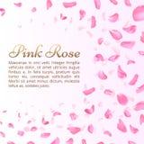 Rosa färgros eller sakura fallande kronblad Elegant romantisk vektorbakgrund stock illustrationer