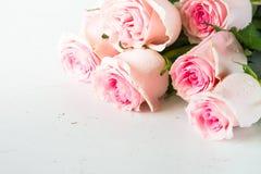 Rosa färgros på den vita stentabellen royaltyfria foton