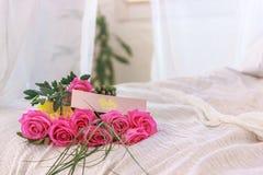 Rosa färgros på en säng royaltyfria foton