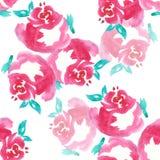 Rosa färgrosen, vattenfärg, mönstrar sömlöst, handgjort Royaltyfria Bilder