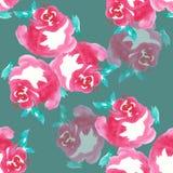 Rosa färgrosen, vattenfärg, mönstrar sömlöst, handgjort Arkivfoto