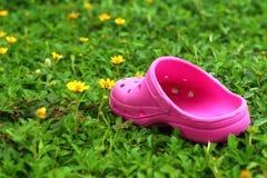 Rosa färgskor på gräs - i trädgården Royaltyfri Bild