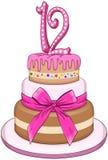 Rosa färgslagträMiztvah kaka för den 12th födelsedagen Royaltyfri Bild