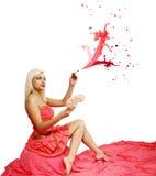 Rosa färgsprej Fotografering för Bildbyråer