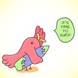 Rosa fågel för klotter med surfingbrädan Arkivfoton