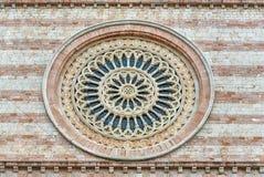 Rosa fönster av basilikan av helgonet Clare, Assisi, Italien arkivbild