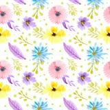 Rosa för sömlös modellvattenfärg blom-, purpurfärgade och gula blommor royaltyfri illustrationer