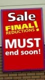 rosa försäljningsyellow lagers försäljningstecken försäljningsfinalförminskningar Arkivbilder