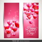 Rosa Fahnen des Valentinstags lizenzfreie abbildung