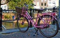 Rosa Fahrrad auf der Brücke stockfotografie