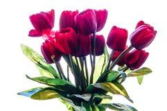 Rosa falsificada do vermelho da tela e haste verde Imagens de Stock
