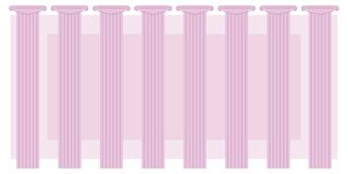 Rosa Farbklassische Spalten-Reihe acht auf einem Hintergrund von Theater-Hintergrund announcemen der rosa Rechteckvektorillustrat lizenzfreie abbildung