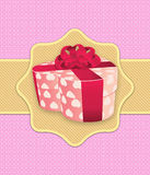 Rosa Feiertagshintergrund mit Geschenkbox Stockfoto