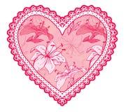 Rosa feines Spitzeherz mit Blumenmuster Stockbild