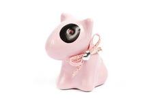 Rosa figurines för tjurTerrierporslin Royaltyfri Fotografi