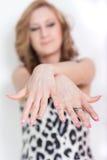 Rosa Fingernails arkivbilder