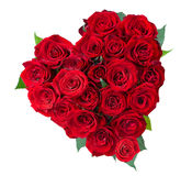 Rosa fiorisce il cuore sopra bianco Fotografia Stock Libera da Diritti