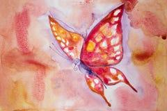 Rosa fjäril med färgrik bakgrund Fotografering för Bildbyråer