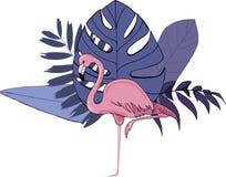 Rosa Flamingo der exotischen V?gel, tropische Palmbl?tter und Blumen, wei?er Hintergrund Dschungelstrandder blumenmuster-Tapete stock abbildung