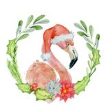 Rosa flamingo för jul i illustration för santa hattvattenfärg Royaltyfria Foton