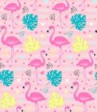 Rosa flamingo för vektor, sömlös modell för monstera tropisk bakgrundssommar stock illustrationer