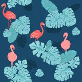 Rosa Flamingo Gullig afrikansk f?gel seamless vektor f?r modell Tropisk f?rsiktig bakgrund f?r yttersida, textil, tyg f?r stock illustrationer