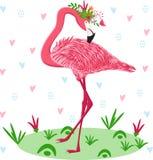 Rosa flamingo med blommor - vektorillustration, eps stock illustrationer