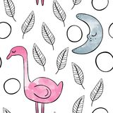 Rosa Flamingo Nahtloses Muster des Vektor-Aquarells lizenzfreie abbildung
