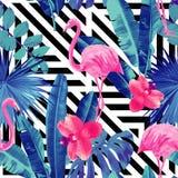 Rosa flamingo och orkidé stock illustrationer