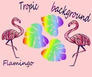 Rosa Flamingos und tropische Blätter - Ideen für Aufkleber lizenzfreie abbildung
