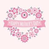 Rosa floral del corazón de madres de la tarjeta feliz del día ilustración del vector