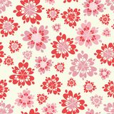 Rosa floral del vector y fondo inconsútil rojo del modelo de la repetición ilustración del vector