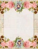 Rosa floral do estilo chique gasto imprimível do vintage estacionária no fundo de madeira ilustração royalty free
