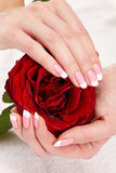 Rosa französische Maniküre lizenzfreies stockfoto