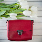 Rosa Frauentasche mit Blumen Lizenzfreies Stockfoto