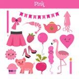 Rosa färger Lär färgen Utbildningsuppsättning Illustration av primärt Co Arkivfoto