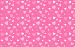 Rosa färgtapet med vita hjärtor Arkivbild