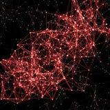 Rosa/fundo abstrato vermelho no preto Pontos de conexão com li Fotografia de Stock Royalty Free