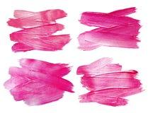 Rosa Funkeln-Aquarell-Beschaffenheits-Farben-Fleck-Zusammenfassungs-Illustrations-Satz Glänzender Bürstenanschlag für Sie erstaun Lizenzfreies Stockbild