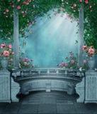 Rosa gazebo för fantasi stock illustrationer