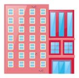 Rosa Gebäude mit Glasfenstern Lizenzfreie Stockfotos