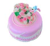 Rosa Geburtstag, Hochzeitstorte mit Blumen und Stockbild